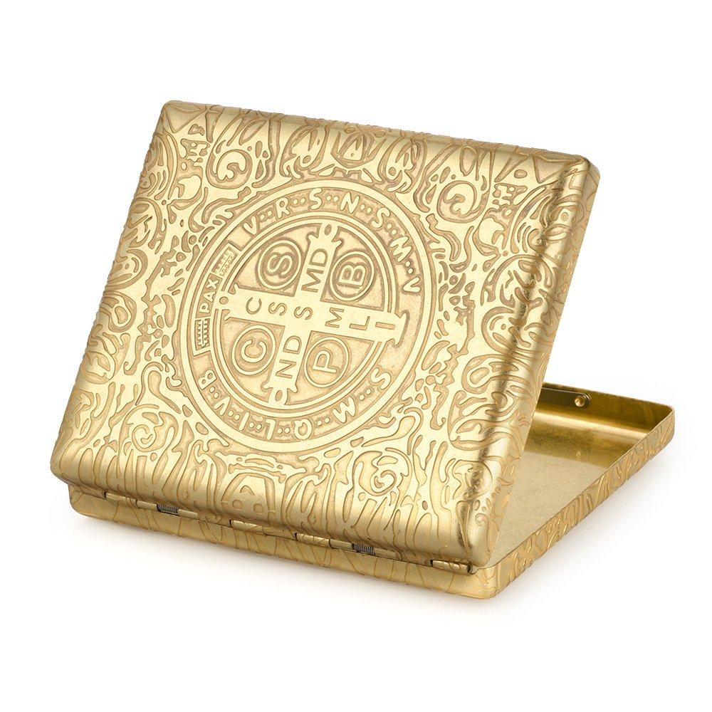 6 Sides Engraved Constantine Brass Metal Cigarette Case Holder For 20 Cigarettes