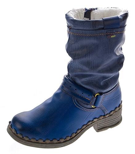 6c211753bc TMA Damen Winter Stiefel Echt Leder Gefüttert Stiefeletten 5005 Schuhe Blau  Boots Gr. 36
