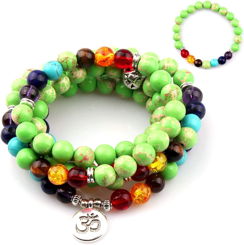 Meditation bracelets set White jade bracelet Green jade bracelet Wrist mala beads Tree of life bracelet Yoga beads Prayer beads Yoga gifts