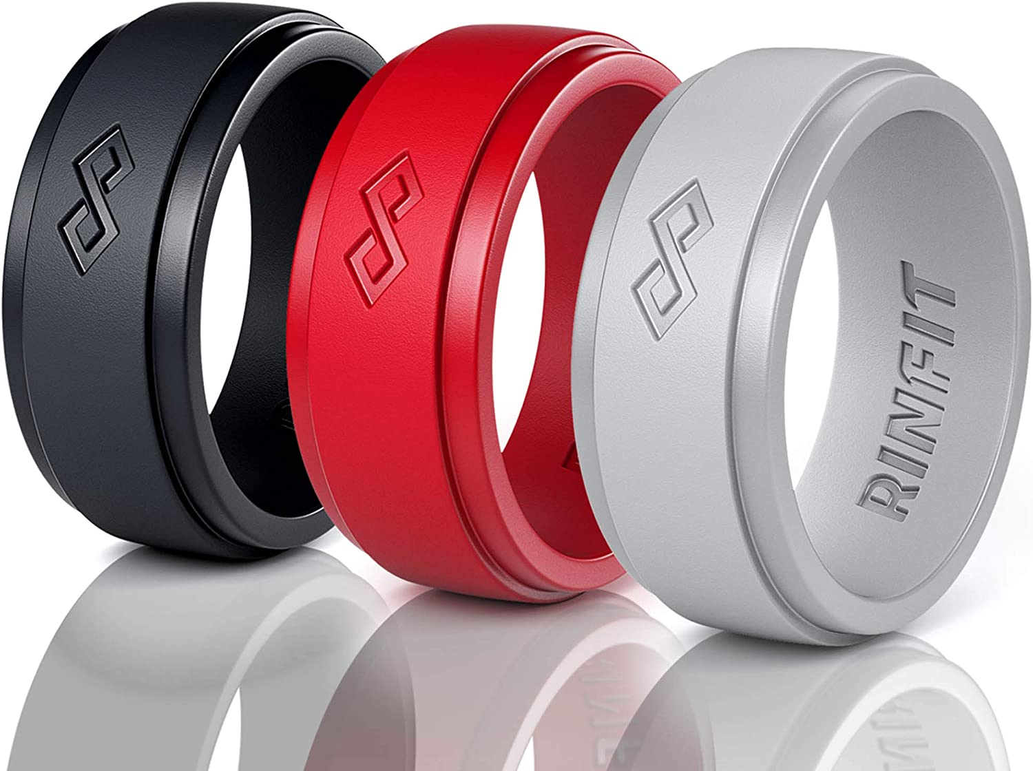 Silicone Wedding Ring for Men - 3 Rings Set by Rinfit - Designed, Safe, Soft Rubber, Silicone Men's Wedding Band. (12, Black, Red, Gray)