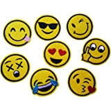 8 pcs Emoji Patches Embroidered Iron on Badge Applique for Clothes Stickers (Emoji 8)