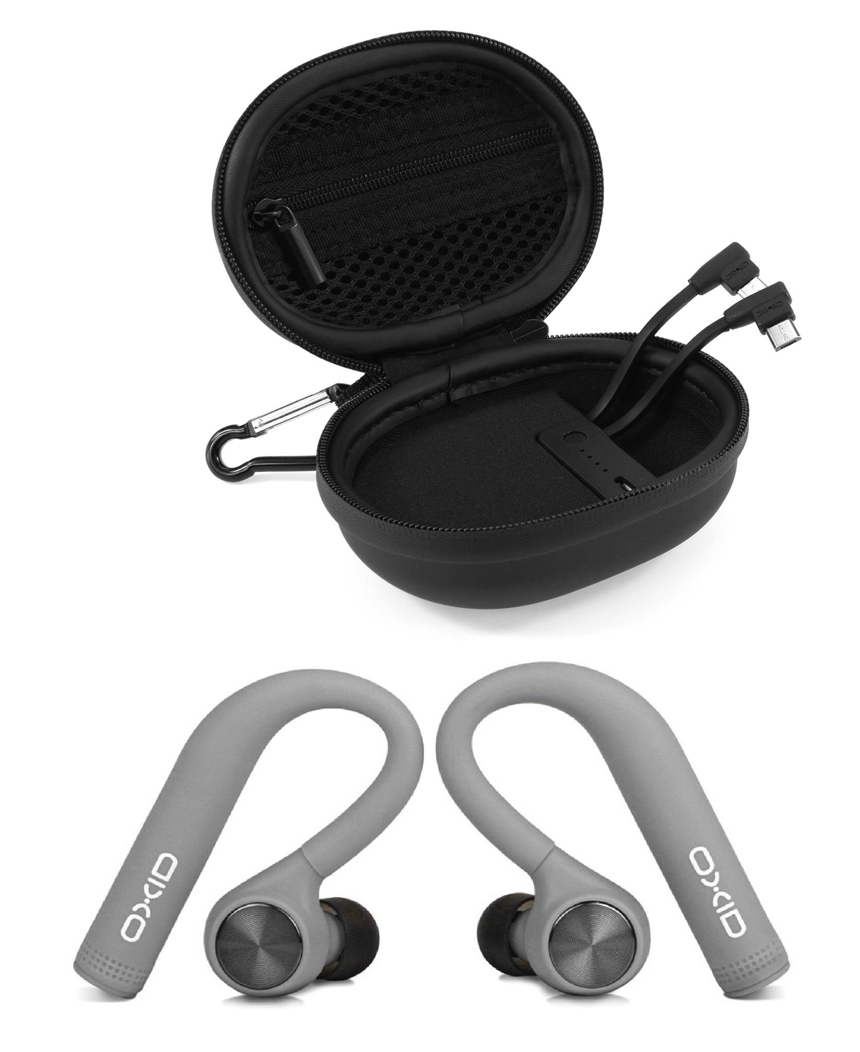 OXID AudioBuds True Wireless Bluetooth Headphones with Charging & Protective Case for Over 15 Hours Playtime - Unique Over-Ear Design Stays in Place While Running - Not Compatible with Android (Grey)