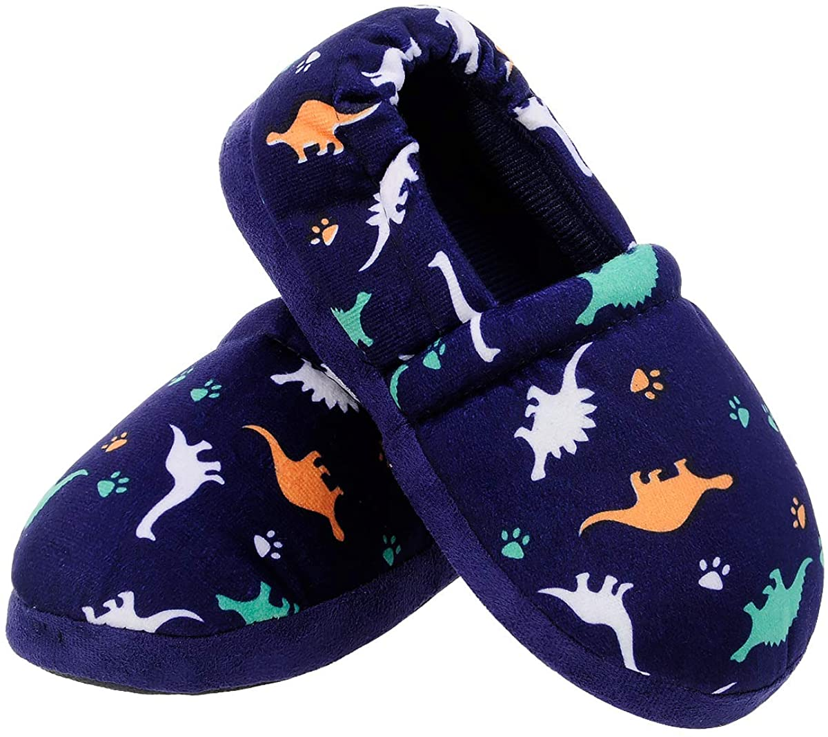 MIXIN Little Kids Boys Indoor House Slip-on Slippers Soft Warm Memory Foam