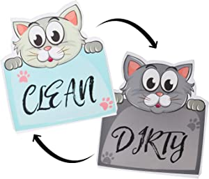 "Nidoul Clean Dirty Dishwasher Magnet Sign, 3.5"" X 3.15"" Waterproof Double Sided Strongest Magnets Flip Indicator, Cute Cat Dishwasher Accessories Kitchen Label for Home Organization"