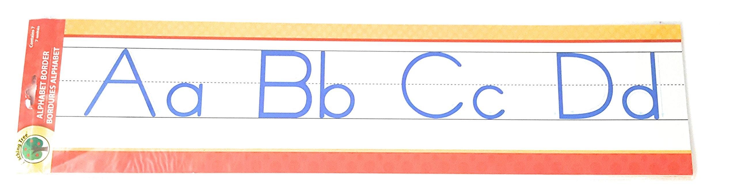 Teaching Tree Manuscript Alphabet Bulletin Back to School Board Creative Strips School Office Resources Scholastic Teacher Teacher's Bulletin Trim Wall Border Decal Classroom Decoration Red/Yellow Dot