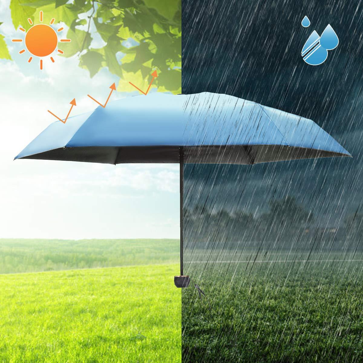 Parapluie de Poche Ultra-l/éger Compact Portable S/échage Rapide Anti-Vent Anti-UV NASUM Mini Parapluie Pliant Bleu Ciel avec Boucle//Bo/îte Polygonale Capsule//Pendentif pour Voyage Randonn/ée