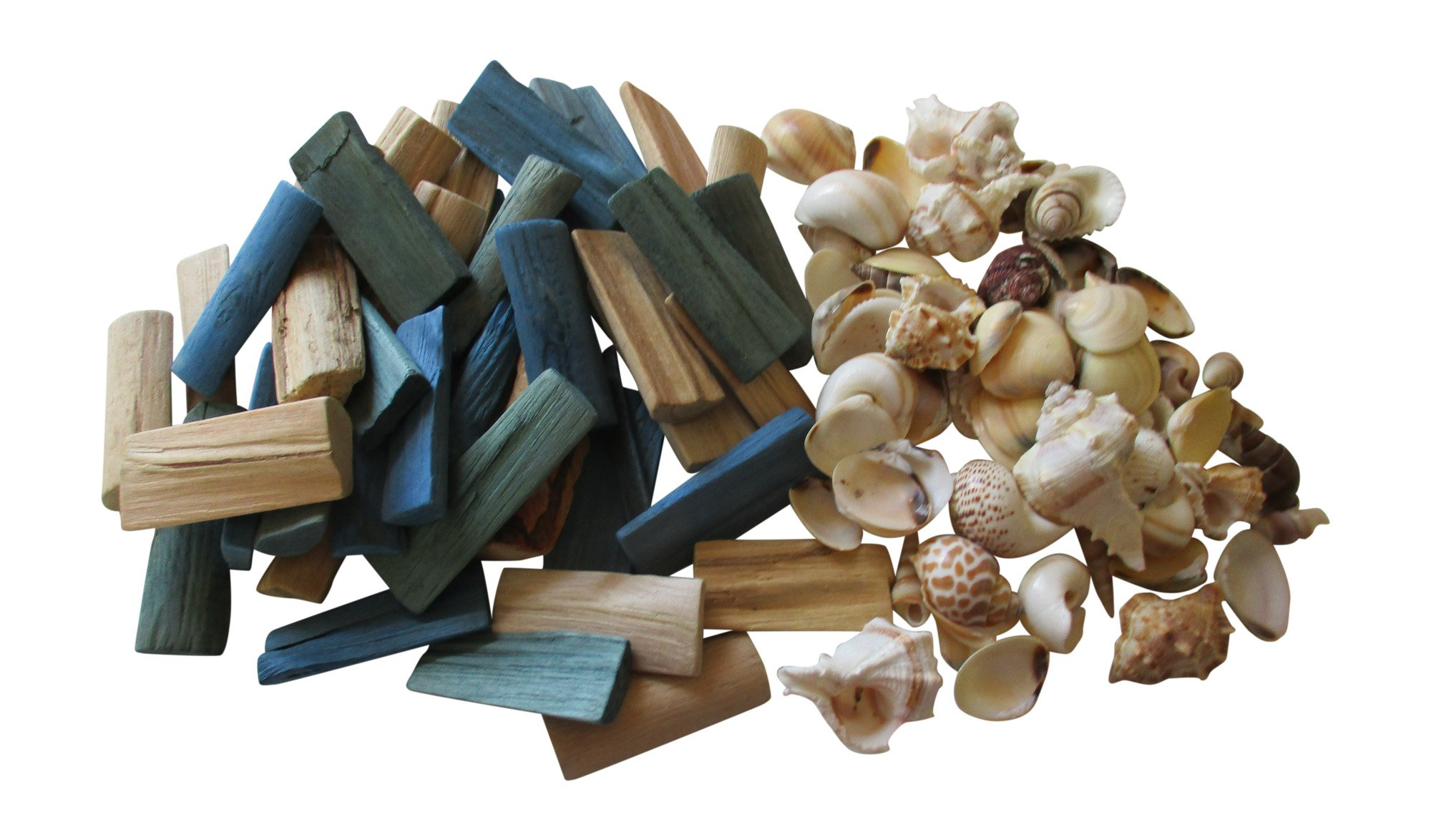 From The Attic Crafts Sea Shells and Wood Bowl Filler Set Beach Decor in Auqa, Seagrass Green and Natural