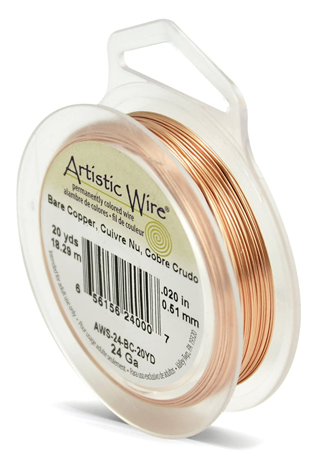 Beadalon Artistic Wire 24-Gauge Bare Copper Wire, 20-Yards AWS-24-BC-20YD
