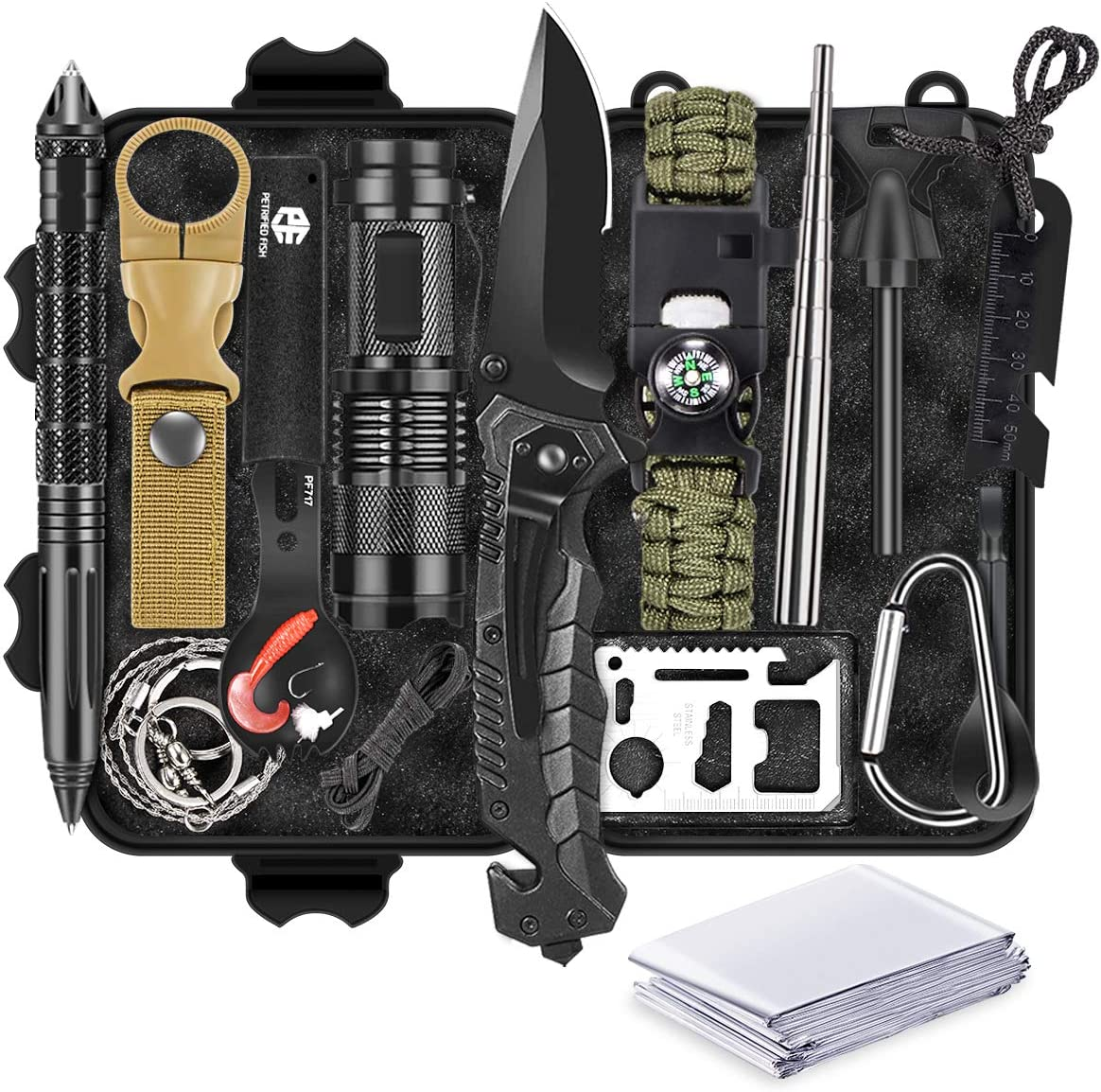 13 in 1 Survival Gear Kit, Fathers Day Idea Gifts for Dad, Outdoor Emergency Survival Tools for Camping Fishing Hunting Hiking, Idea Gifts for Men Dad Husband Father