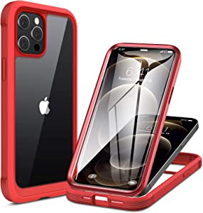 Miracase Glass+ Case for iPhone 12 Pro Max 6.7 inch, 2020 Full-Body Clear Bumper Case with Built-in 9H Tempered Glass Screen Protector for iPhone 12 Pro Max, Red