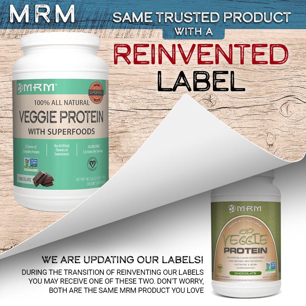MRM – Veggie Protein Powder, Protein Source for Vegans, Gluten-Free Preservative-Free, Non-GMO Verified Chocolate, 2.5 lbs