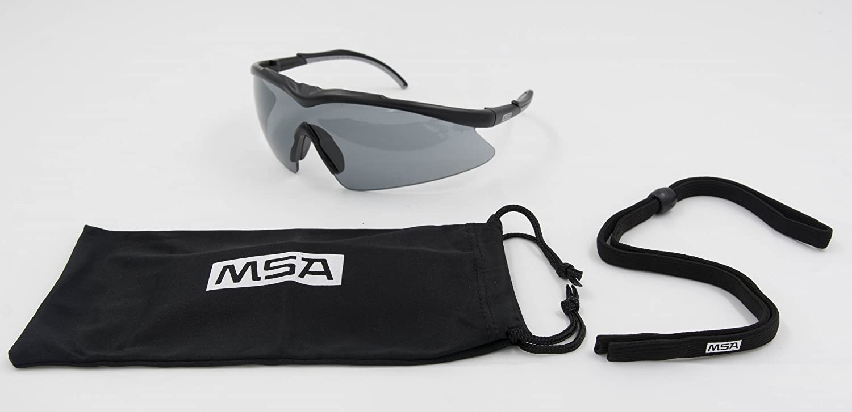 Colore Affumicato Occhiali per Tiratori Sportivi MSA Safety e Occhiali da Caccia TecTor Opirock UV400 Borsa in Microfibra e Cordicella