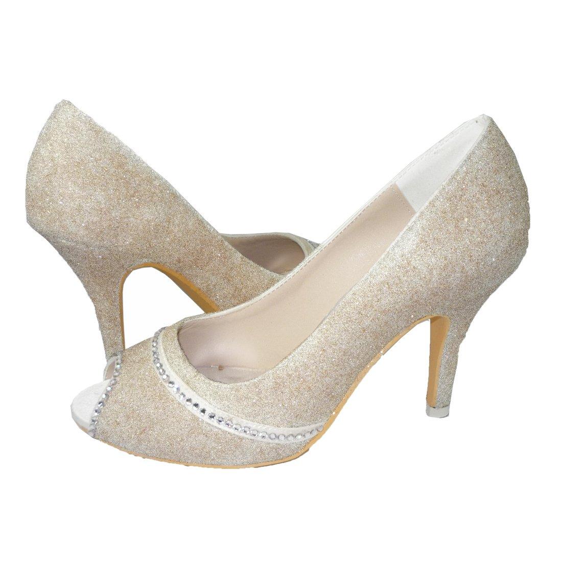 8119e9361684 Amazon.com  Champagne Glitter Heels with Crystal Swarovski Rhinestones