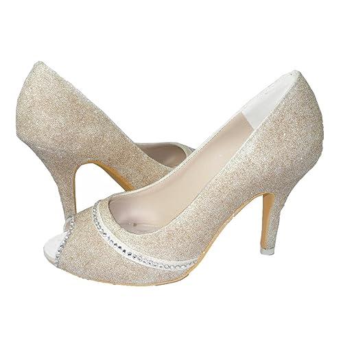 Amazon.com  Champagne Glitter Heels with Crystal Swarovski Rhinestones cb7af7cbcab4
