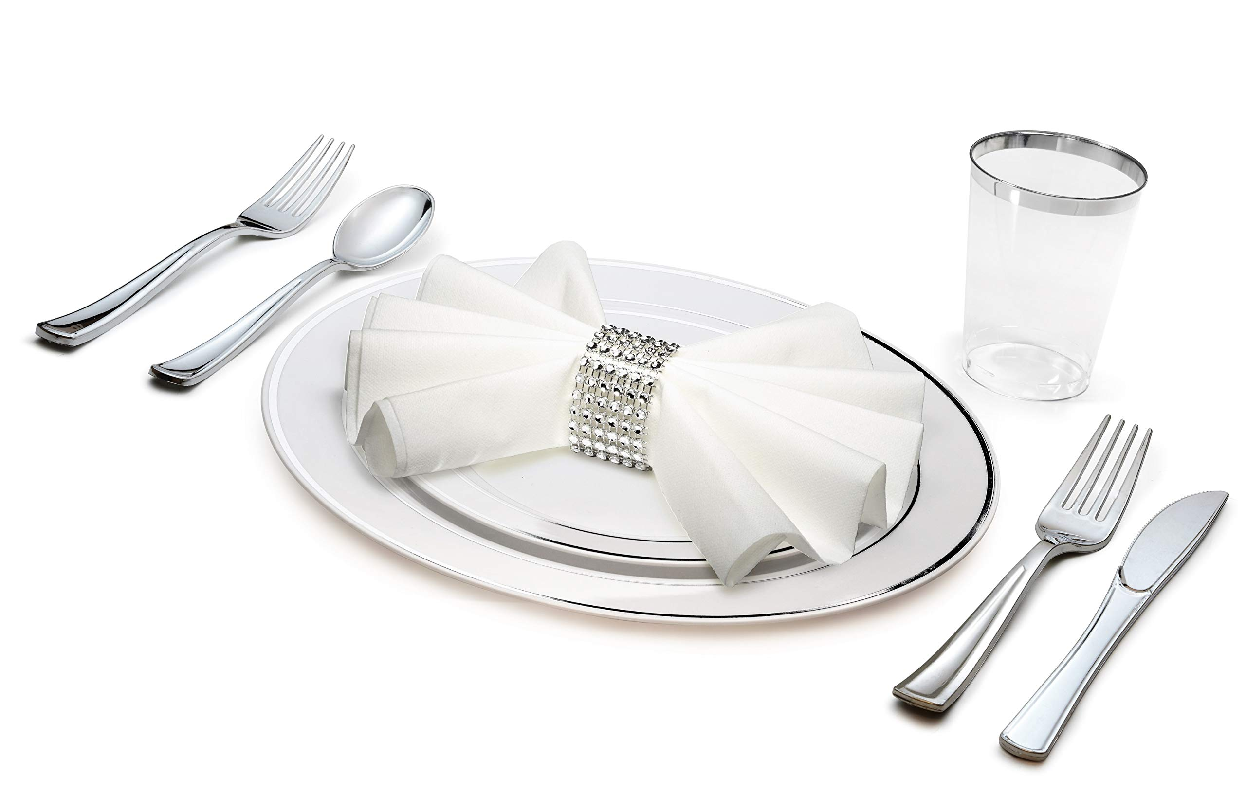'' OCCASIONS'' 1080 Piece / 120 Guest - Full Tableware Set - Wedding Disposable Plastic Plates, Plastic Silverware, Silver Rimmed Tumblers & Linen Feel Napkins w/napkin Rings (Combo C, White/Silver)