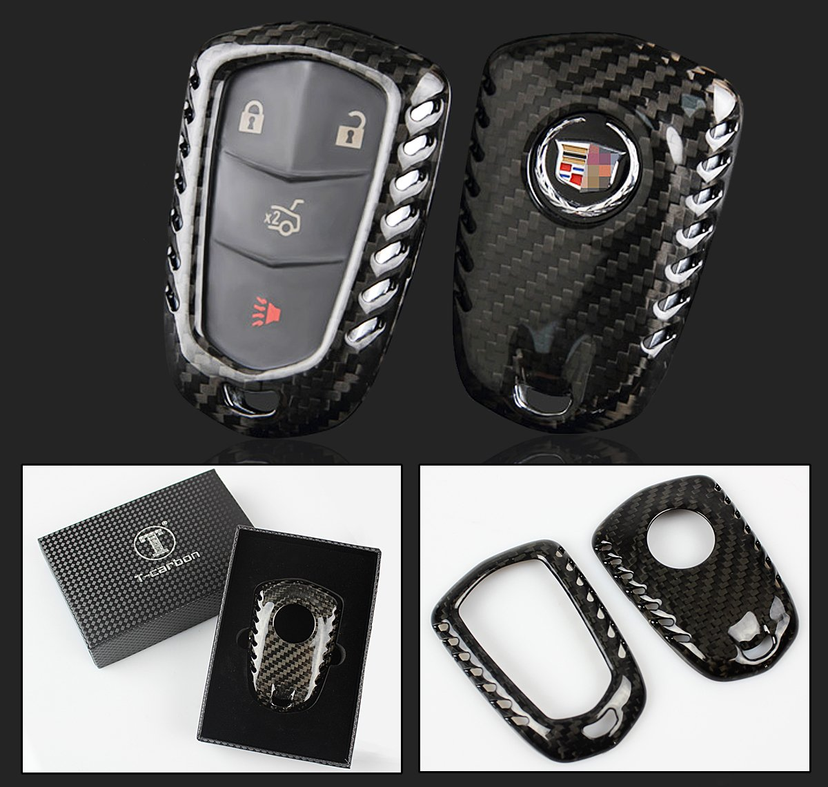 Luxury Real Carbon Fiber SNAP ON CASE for Cadillac CTS ATS V Smart Key FOB Cuztom Tuning