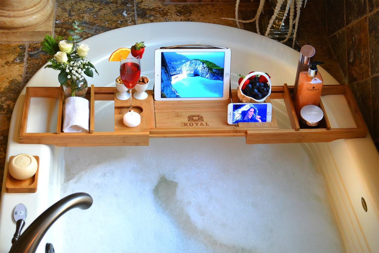 A Home Spa Bath Tray- 22 Unusual 1st Anniversary Gift Ideas - TodayWeDate.com