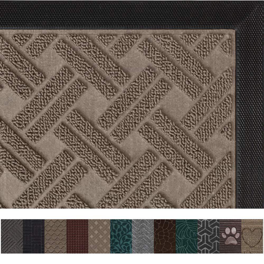 Gorilla Grip Original Durable Rubber Door Mat, 35x23, Large Heavy Duty Doormat, Indoor Outdoor, Waterproof, Easy Clean, Low-Profile Winter Mats for Entry and High Traffic Areas, Taupe Basket Weave
