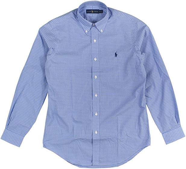 6251c6799bc ... where to buy polo ralph lauren mens checked poplin sport shirt small  blue white d0af0 bb7d1