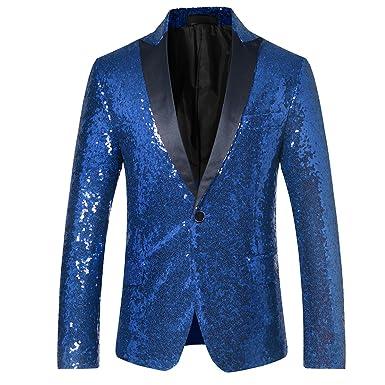 d53b0fd1661 Cloudstyle Men's Sequins Blazer Slim Fit Sport Coat Jacket Party Wedding Sports  Coat