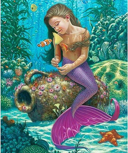 Full Drill Mermaid 5D Diamond Painting Embroidery Cross Stitch Kits Wall Decor