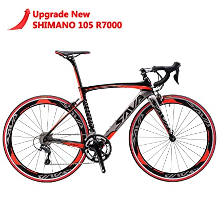 SAVADECK Carbon Road Bike, Windwar5.0 Carbon Fiber Frame 700C Racing Bicycle with 105 22 Speed Groupset Ultra-Light Bicycle (Red, 52cm) best racing bike