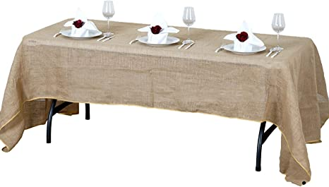 Amazon Com Balsacircle 60 Inch X 102 Inch Natural Brown Burlap Jute Rustic Rectangle Tablecloth Country Chic Wedding Party Home Table Linens Home Kitchen