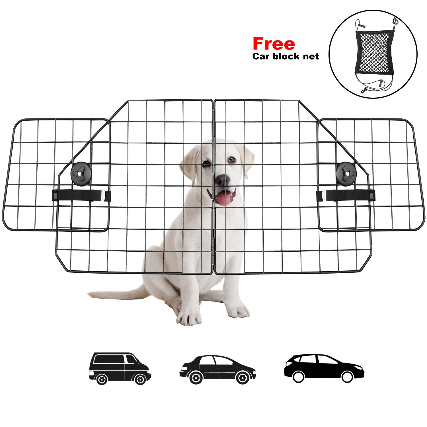 Dog Car Barriers,Pet Car Barrier Heavy Duty Wire Adjustable Dog Barrier with Front Seat Mesh Pet Barrier Net Organizer,The Perfect Dog Dividers for SUV,Cars,Vehicles by Urban Deco