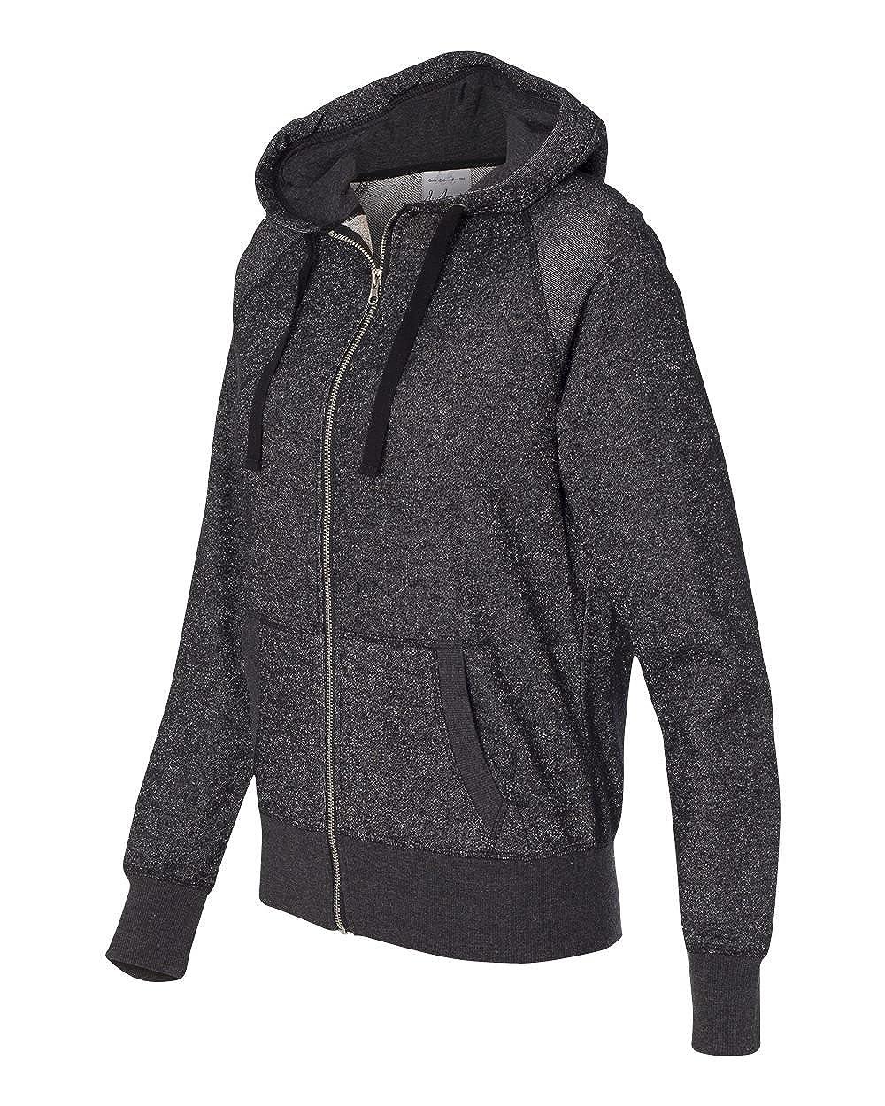 JA8868 J America Womens Glitter French Terry Contrast Full-Zip Hooded Fleece