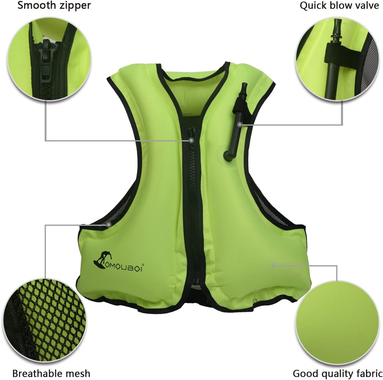 Canyoning Snorkeling Life Jackets OMOUBOI Adult Portable Inflatable Floatable Vest Swim Vest Boating Life Vest Snorkel Vest Fishing Vest Kayaking Diving Swimming,Drifting,Surfing