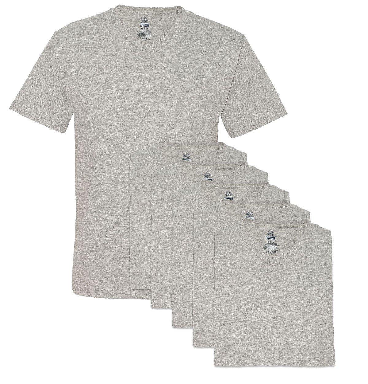 Large Fruit of the Loom Mens 6 Pack V-Neck T-Shirt Athletic Heather