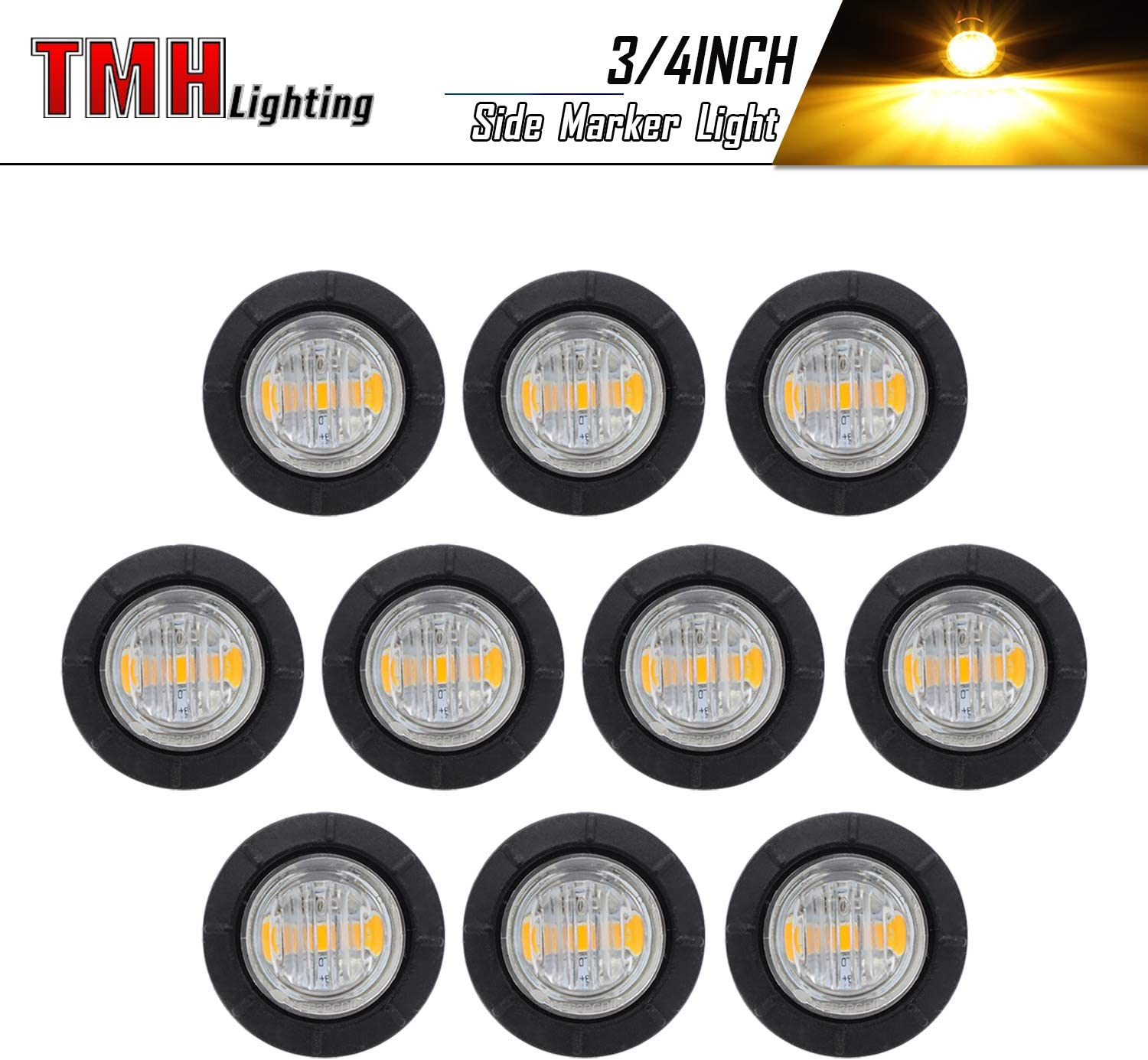 """10 Pcs TMH 3/4"""" Inch Mount Clear White LENS & Amber LED Clearance Markers, side marker lights, led marker lights, led side marker lights, led trailer marker lights, trailer marker light"""
