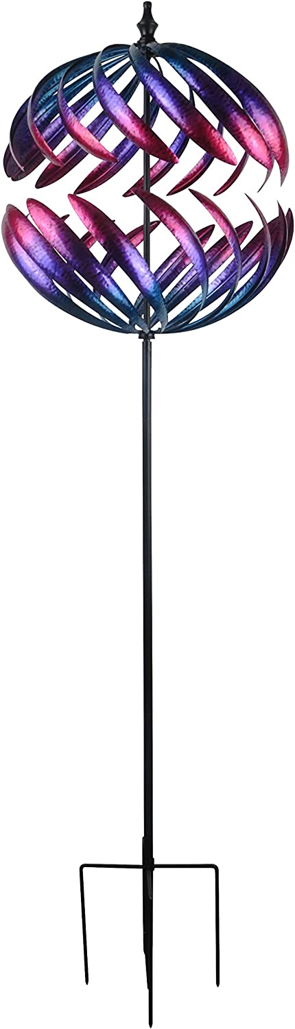 Continental Art Center CAC3217511 Rotating Half Sphere Kinetic Spinner Garden Stake, 20''x20''x78''H