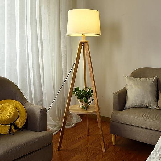 Lámpara de pie Salón Dormitorio Cama nórdica Simple Moderna Madera Creativa Luz Vertical Lámpara de Mesa lámpara de Sala de Estar: Amazon.es: Hogar