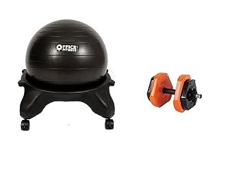Oficina fitness ejercicios bola silla negro + mancuernas: Amazon.es: Deportes y aire libre