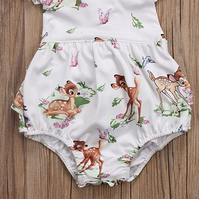 6f2d0ac838a Amazon.com  Lanhui Toddler Baby Girl Clothes Deer Romper Headband 2Pcs Set  Outfit  Clothing