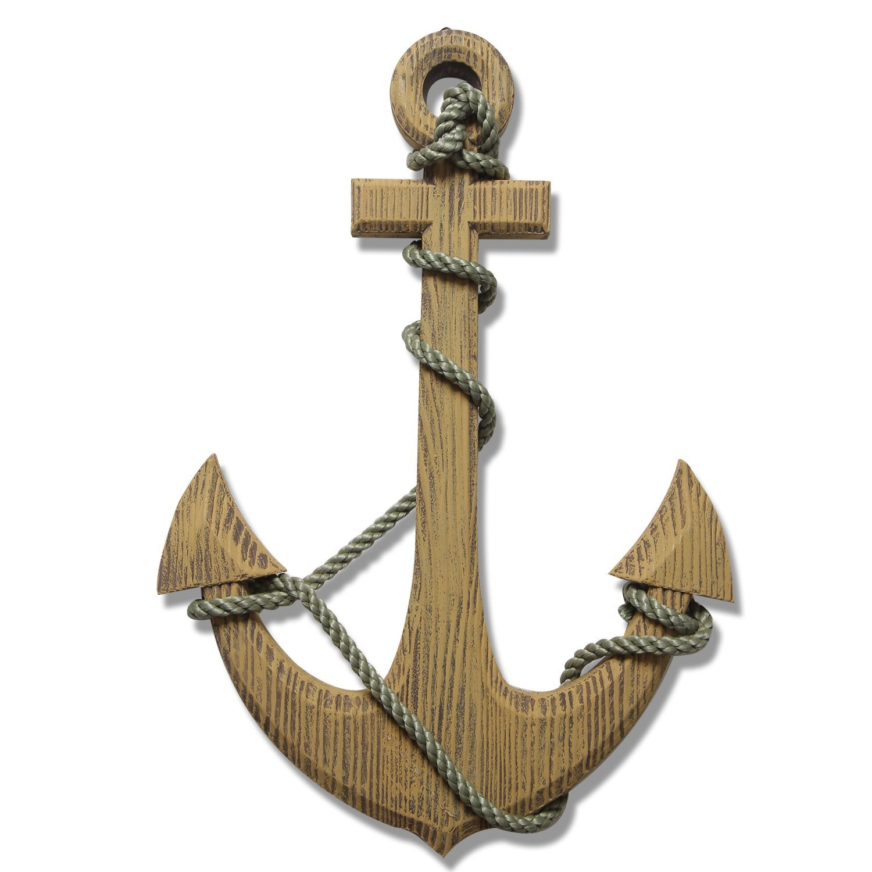 Ornamental Nautical Ship Anchor Wall Decoration, Wood, 24 24 Adeco OS0002