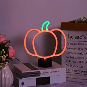 Pumpkin Shaped Halloween Decoration LED Neon Sign Light. Indoor Night Table Lamp with Battery or USB Powered for Party, Living Room, Family Room, Kids Room, Wedding, Home Decoration. (Pumpkin)