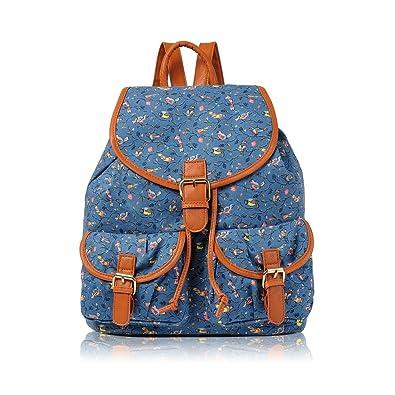 7e9364380e Girls Butterfly Canvas Backpack Rucksack School bag College Shoulder Bag  (Birds D.Blue)