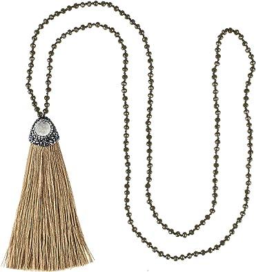 Leather Boho necklace boho jewelry gift for women beaded necklace gift for her sister gift for mom handmade jewelry beach bohemian jewelry