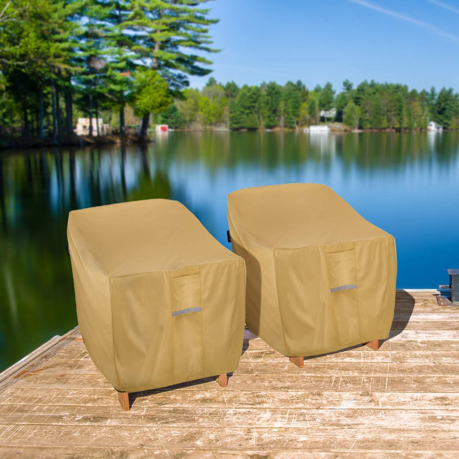 Waterproof Heavy Duty Outdoor Lawn Patio Furniture Cover Light Brown Pack of 1 30 W x 37 D x 31 H Seat Cover Sunkorto Patio Chair Cover