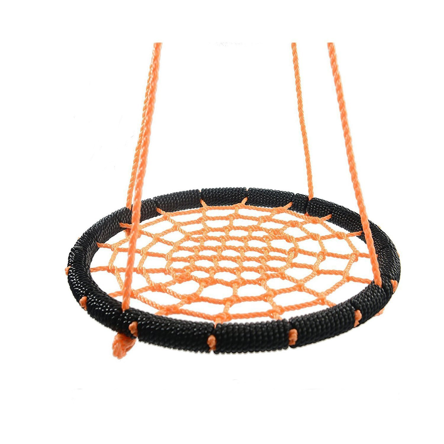 Outroad Web Swing - Great for Tree, Playground, Playroom - 24 Inch Outdoor Spider Net Swing for Kids, Orange, with 2 Extra 60 inch Hanging Straps