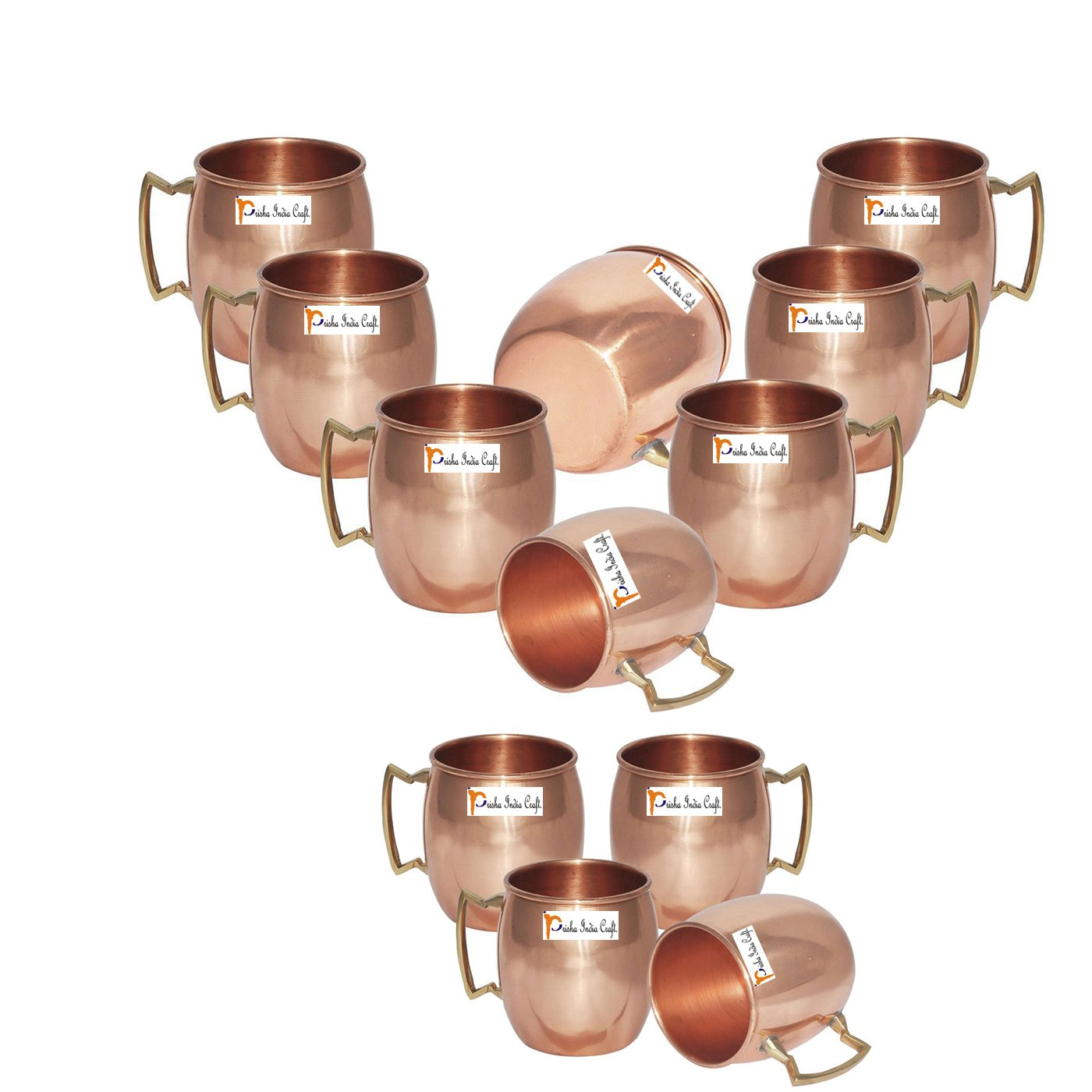 Set of 12 - Prisha India Craft ® Solid Copper Mug for Moscow Mules 550 ML / 18 oz 100% Pure Copper Best Quality Lacquered Finish Mule Cup, Moscow Mule Cocktail Cup, Copper Mugs, Cocktail Mugs