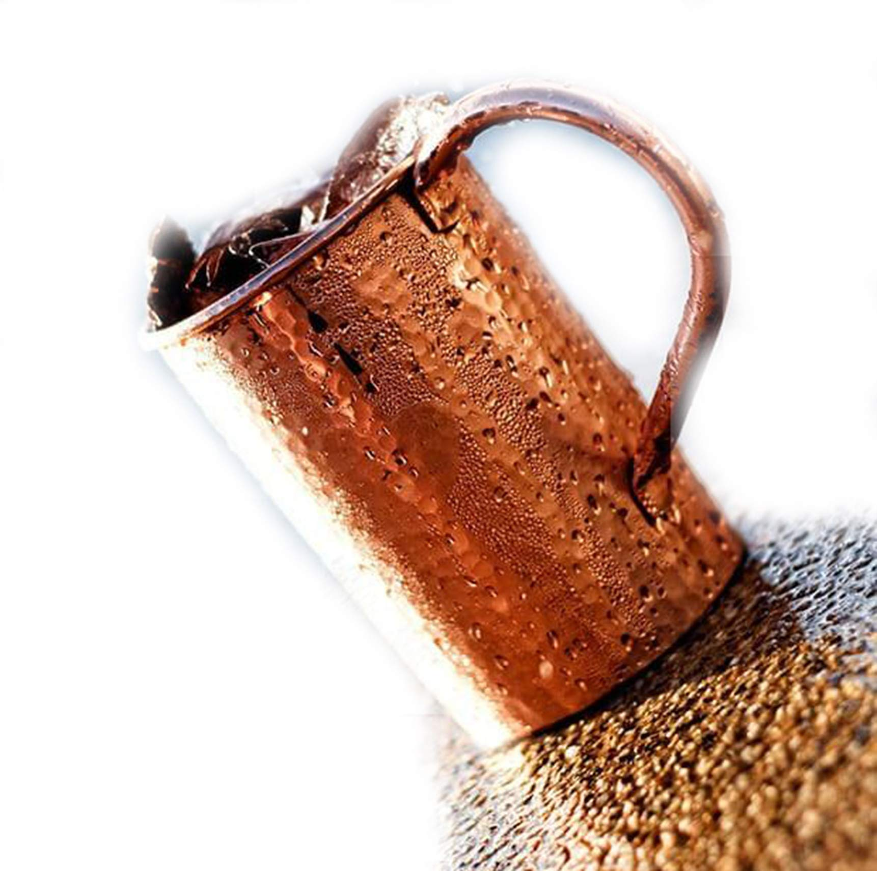Moscow Mule Copper Mugs - Set of 2-Handcrafted Food Safe Pure Solid Copper Mugs - 16 Ounce Set With Bonus : Highest Quality 2 Cocktail Copper Straws and 1 Shot Glass