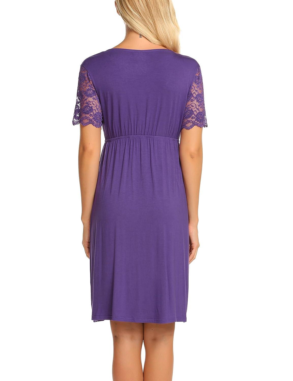 Ekouaer Womens Labor//delivery//Nursing Hospital Gown Maternity Lace Short Sleeve Sleep Dress