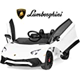 Best Choice Products Kids 12V Ride On Lamborghini Aventador SV Sports Car Toy w/ Parent Control, AUX Cable - White