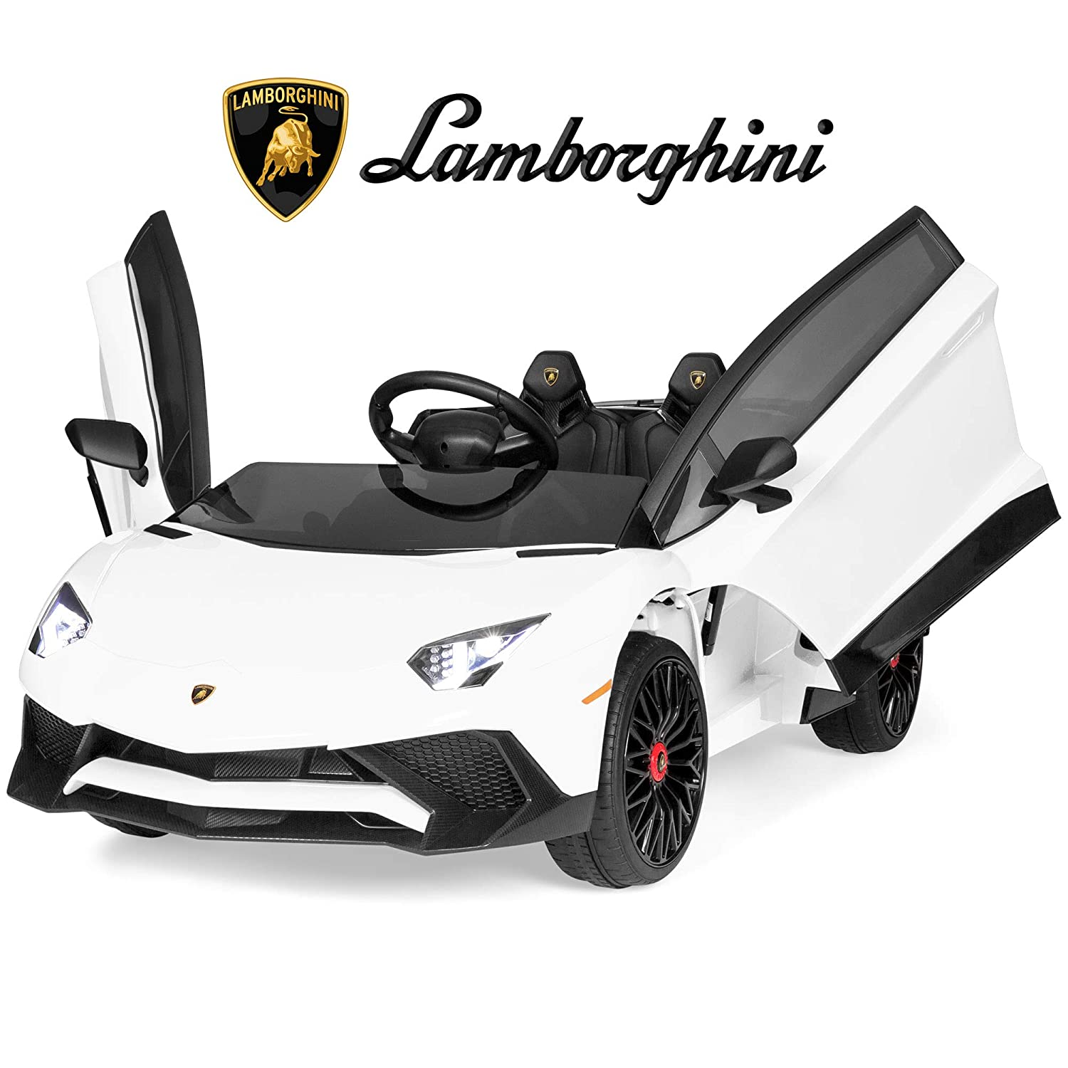 Best Choice Products Kids 12V Ride On Electric Lamborghini with 2 Speeds,  LED Lights/Sounds, White