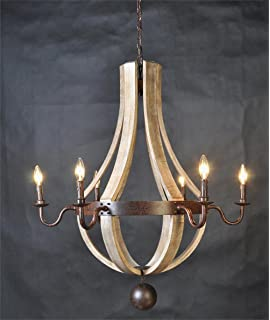 Amazon.com: Creative Co-Op Wood and Metal Chandelier with 6 Lights ...