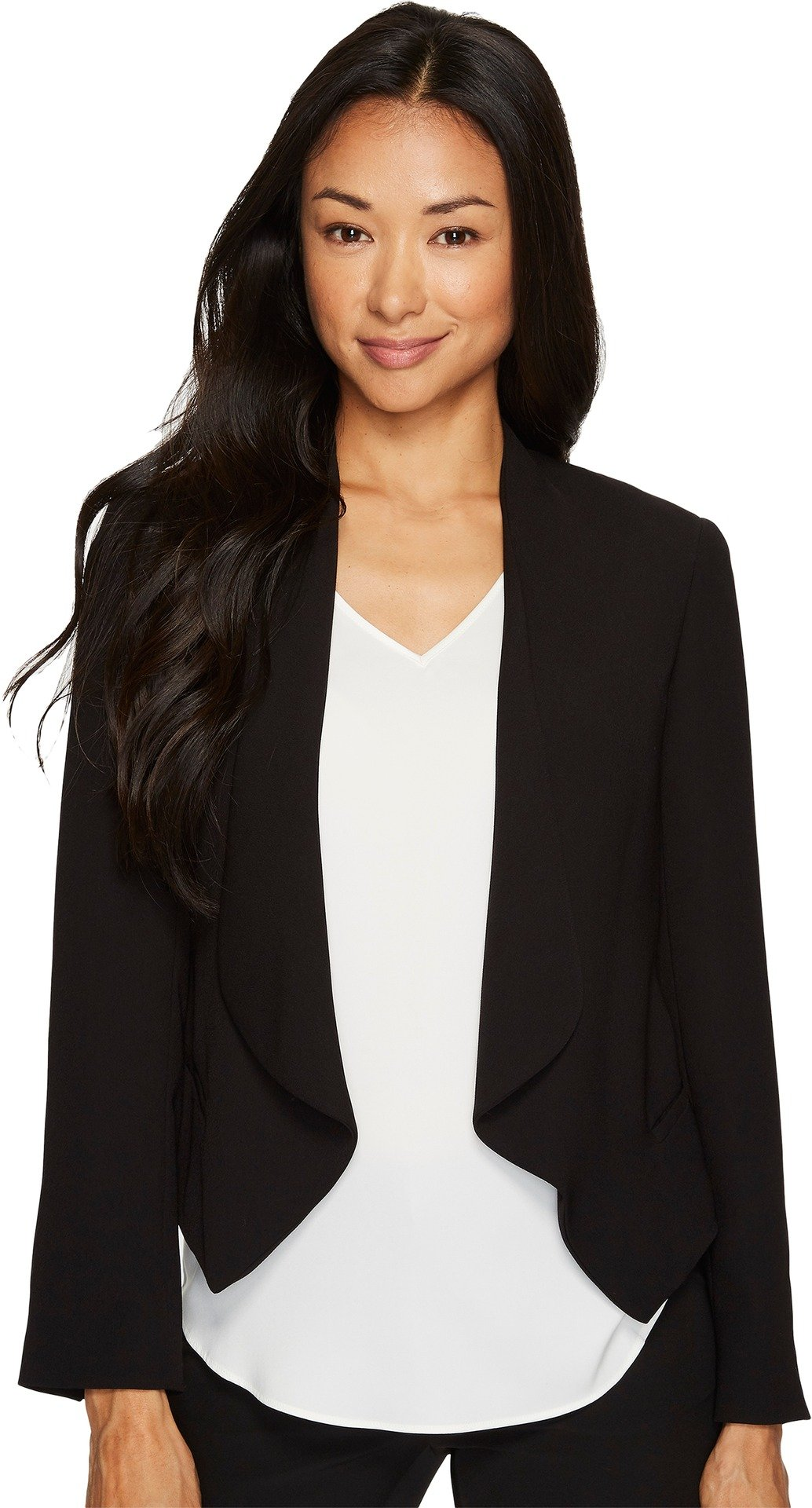 Vince Camuto Specialty Size Womens Petite Drape Front Blazer Rich Black 4P One Size