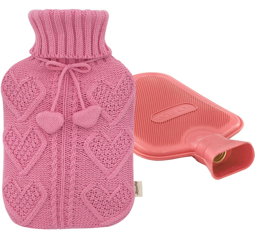 Premium Classic Rubber Hot Water Bottle and Heart Knit Cover (Pink)